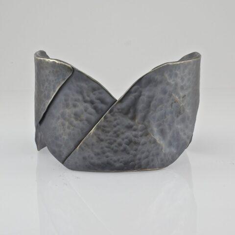 Large Oxidized Folded Cuff Bracelet