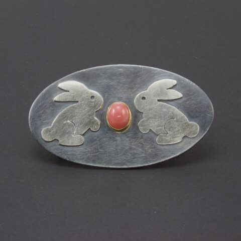 Bunny Brooch In Sterling Silver And Gold With Peruvian Pink Opal
