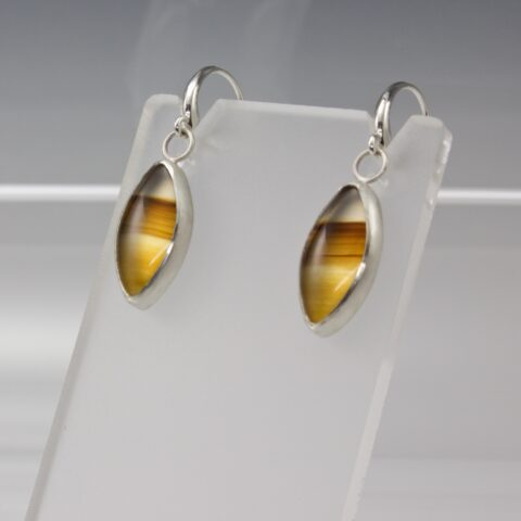 Natural Golden Agate Cabochon Sterling Silver Earrings