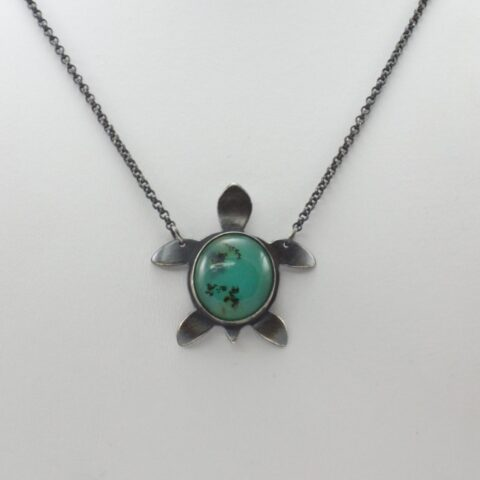 Peruvian Blue Opal Turtle Necklace